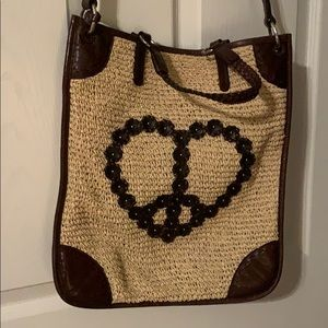 Brighton heart shaped peace sign tote, pocketbook